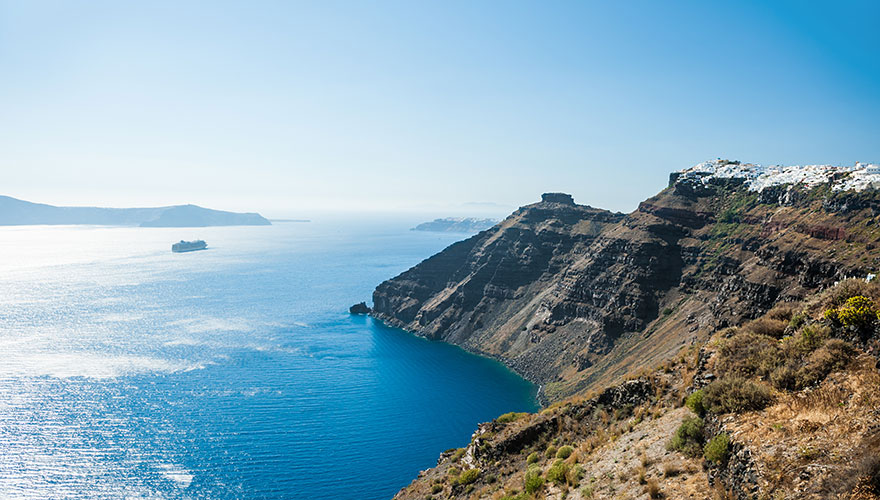 Blue-sky-and-Santorini-view